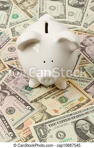 Piggy bank on dollar bills - csp10687545