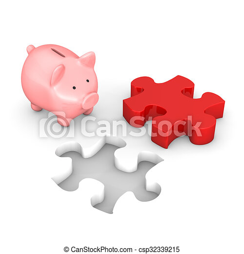 piggy bank red puzzle red puzzle with piggy bank on the clipart rh canstockphoto ca Piggy Bank Clip Art Bank Check Clip Art