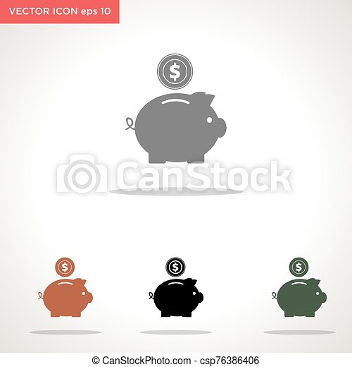 piggy bank vector icon isolated on white background - csp76386406