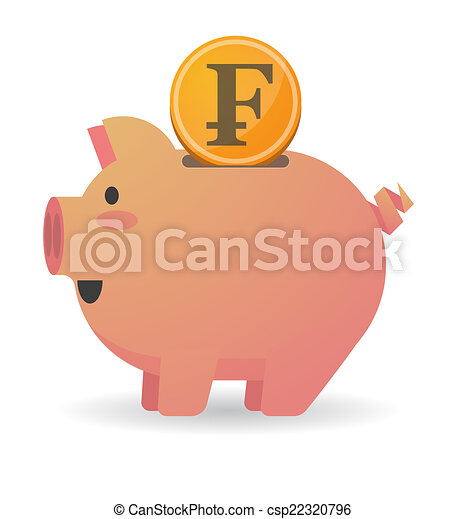 Piggy bank with a currency sign - csp22320796