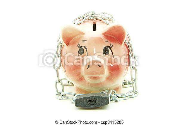 piggy bank with chain  - csp3415285