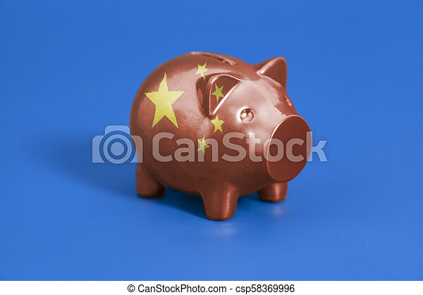 Piggy bank with China flag - csp58369996