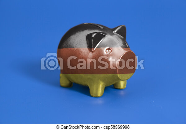 Piggy bank with German flag - csp58369998