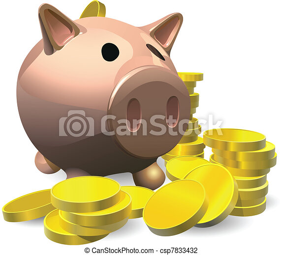 Piggy bank with gold coins illustration - csp7833432
