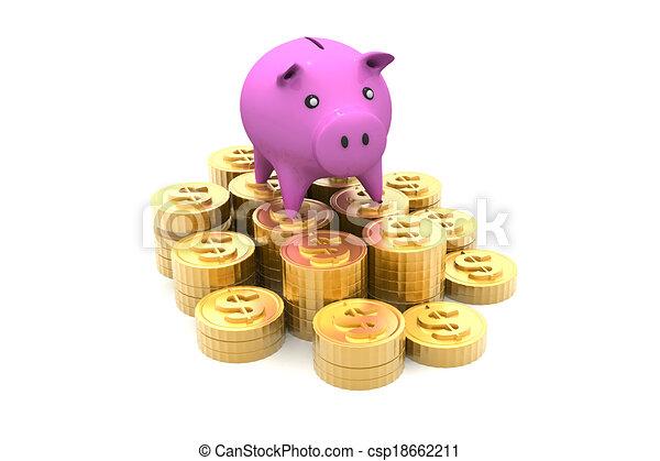 Piggy bank with golden coins - csp18662211