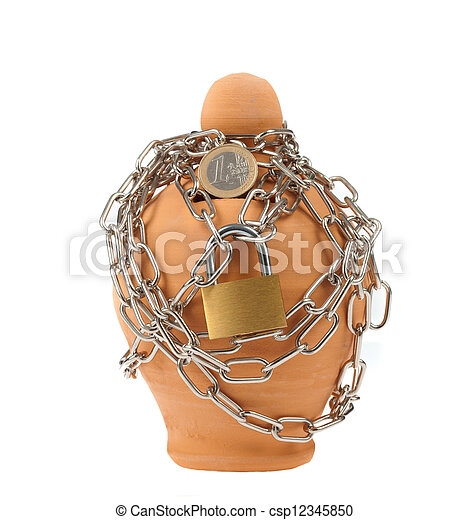 Piggy bank with lock and chain - csp12345850