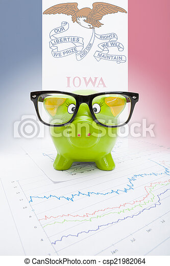 Piggy bank with US state flag on background - Iowa - csp21982064