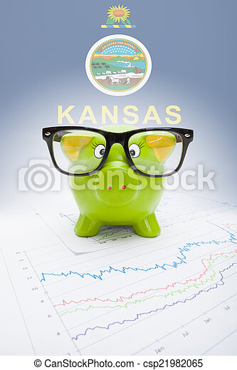 Piggy bank with US state flag on background - Kansas - csp21982065