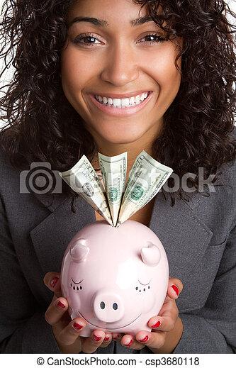 Piggy Bank Woman - csp3680118