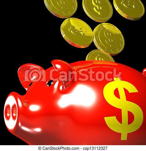 piggybank, projection, pièces, américain, économies, entrer - csp13112327