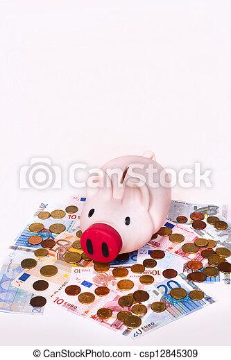 Piggybank with euros - csp12845309