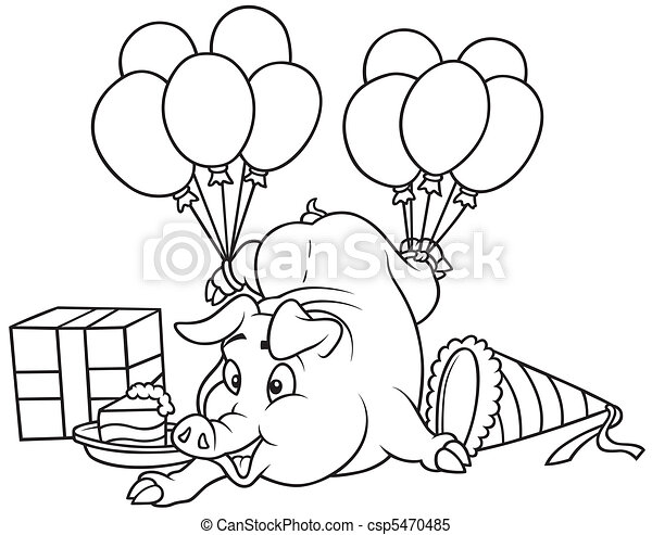 Piglet And Celebration  Black And White Cartoon Clipart Vector