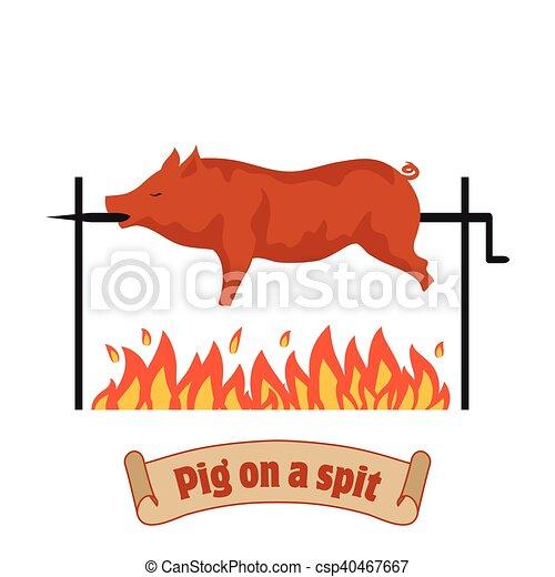 piglet., spit., pig., cochon, torréfaction, grillé, pork., barbecue - csp40467667