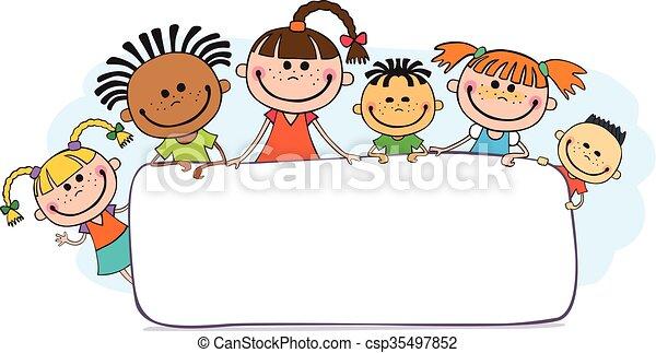 pigolio, bambini, cartellone, illustrazione, dietro - csp35497852