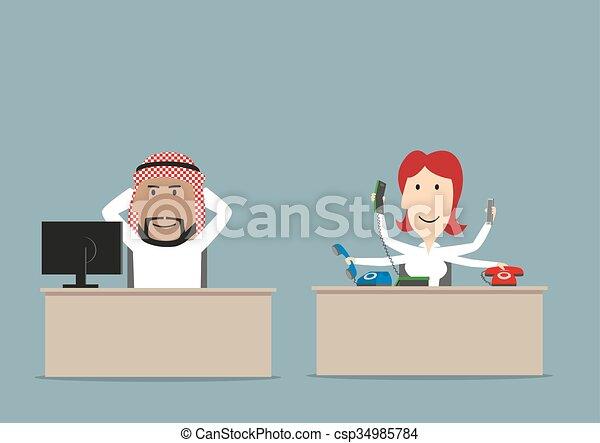 Capo Ufficio Disegno : Pigro occupato capo ufficio segretario. pigro suo working