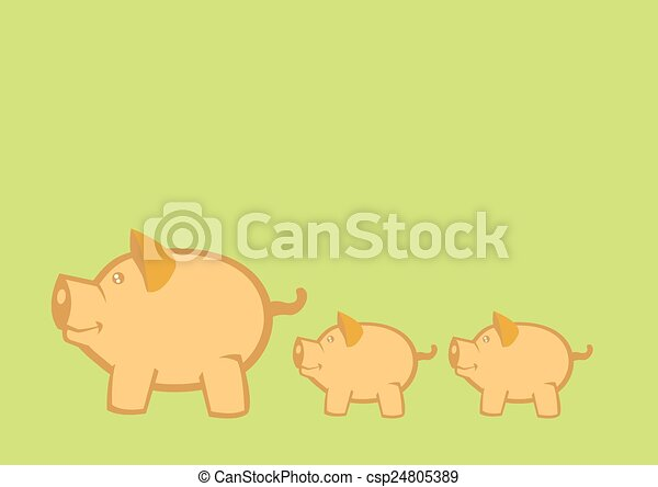 Pigs and Piglets Vector Illustration - csp24805389