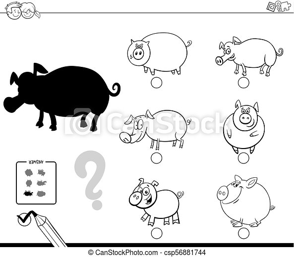 pigs animals shadow game coloring book - csp56881744