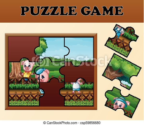 Pigs in the garden with puzzle concept - csp59856680
