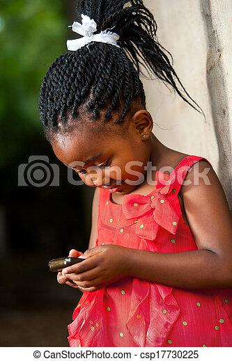 pigtailed, telefon., afrikanisch, m�dchen, spielende , klug - csp17730225
