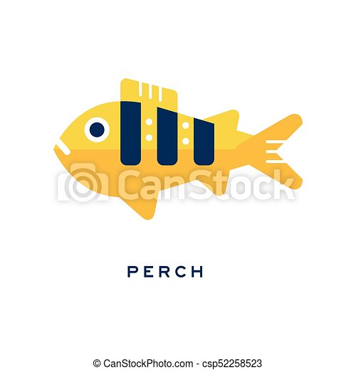 Pike, freshwater fish geometric flat style design vector Illustration - csp52258523