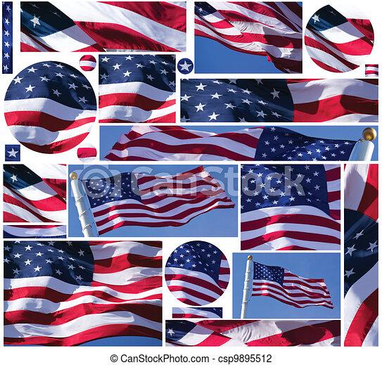 pikolak, chorągwie, amerykańska bandera - csp9895512