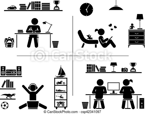 piktogram, room., set., ich, nauka, dzieci, ikona - csp42341097