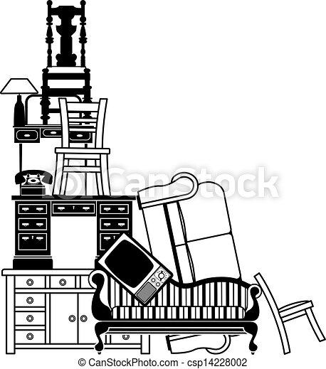 Una pila de muebles - csp14228002