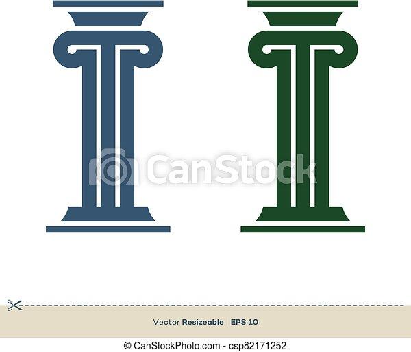 pilar, legal, ilustración, vector, eps, oficina, design., plantilla, logotipo, ley, 10., abogado - csp82171252