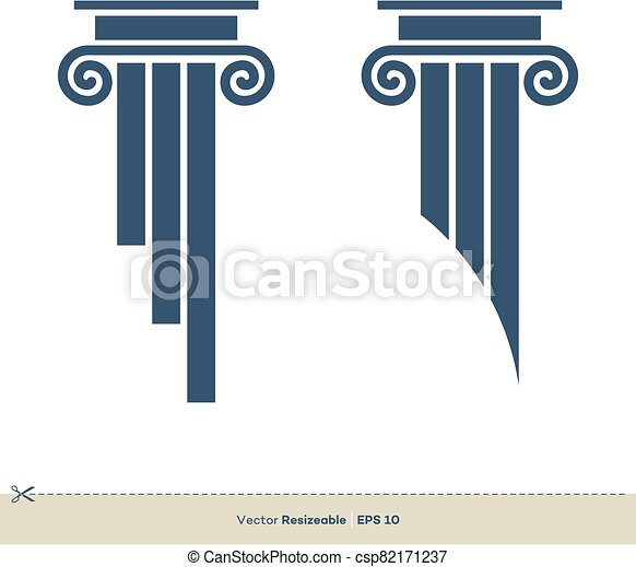 pilar, legal, ilustración, vector, eps, oficina, design., plantilla, logotipo, ley, 10., abogado - csp82171237