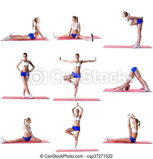 Pilates. Photo mix of blonde training on mat - csp37271522