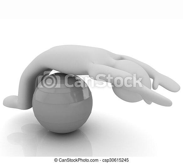 pilates, série, exercitar, condicão física, maior, posição, homem, meu, ball., 3d - csp30615245