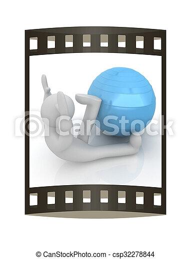 pilates, serie, esercitarsi, idoneità, più grande, posizione, uomo, mio, ball., 3d - csp32278844