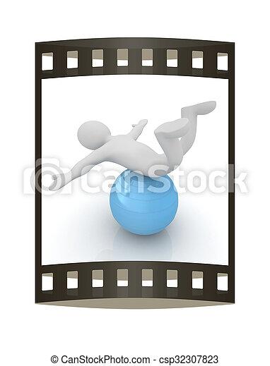 pilates, serie, esercitarsi, idoneità, più grande, posizione, uomo, mio, ball., 3d - csp32307823