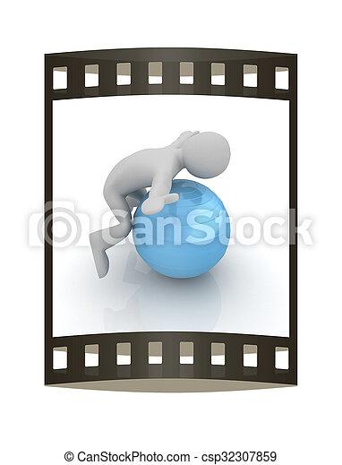 pilates, serie, esercitarsi, idoneità, più grande, posizione, uomo, mio, ball., 3d - csp32307859
