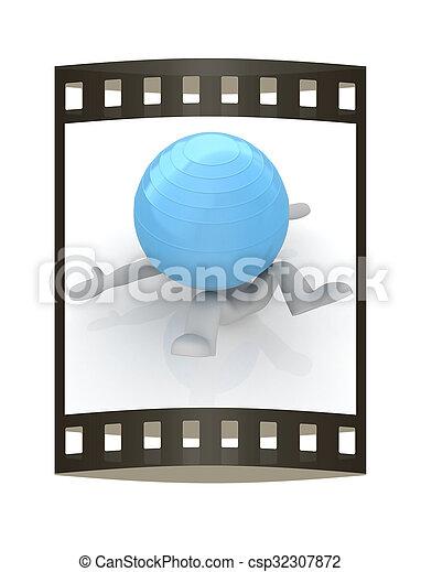 pilates, serie, esercitarsi, idoneità, più grande, posizione, uomo, mio, ball., 3d - csp32307872