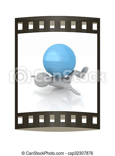 pilates, serie, esercitarsi, idoneità, più grande, posizione, uomo, mio, ball., 3d - csp32307876