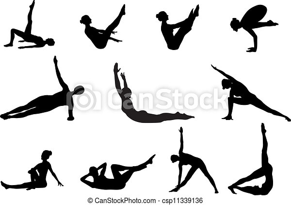 Pilates silhouettes of working out - csp11339136