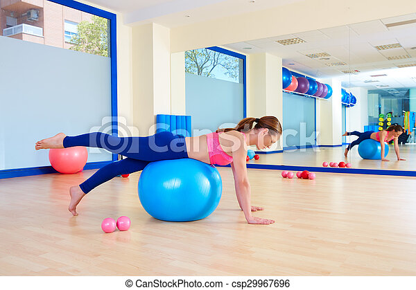 pilates woman fitball leg pull front exercise workout at