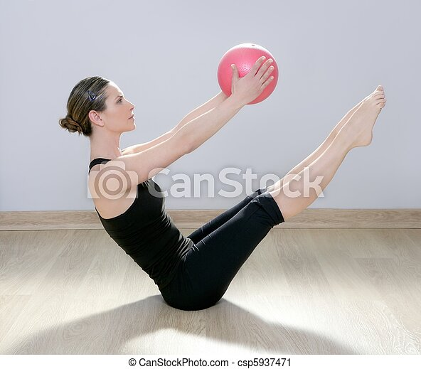 pilates woman stability ball gym fitness yoga - csp5937471