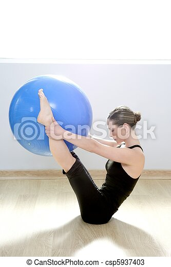 pilates woman stability ball gym fitness yoga - csp5937403