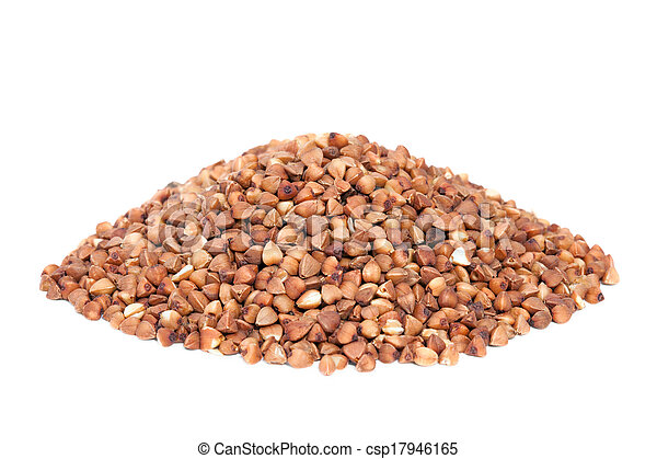 Pile Buckwheat isolated on white background. - csp17946165
