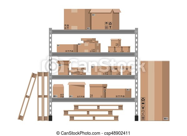 Pile cardboard boxes on shelves - csp48902411