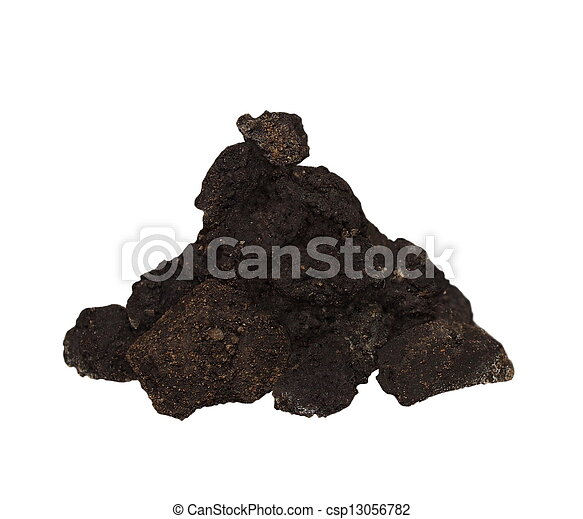 Pile dirt isolated on white backgro - csp13056782