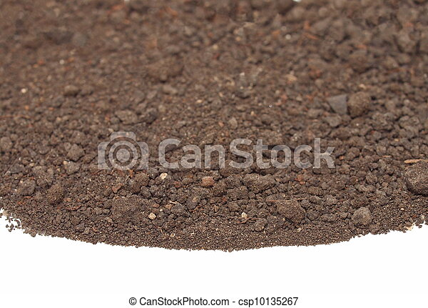 pile dirt isolated on white  - csp10135267