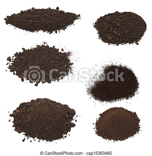 pile dirt isolated on white  - csp15363465
