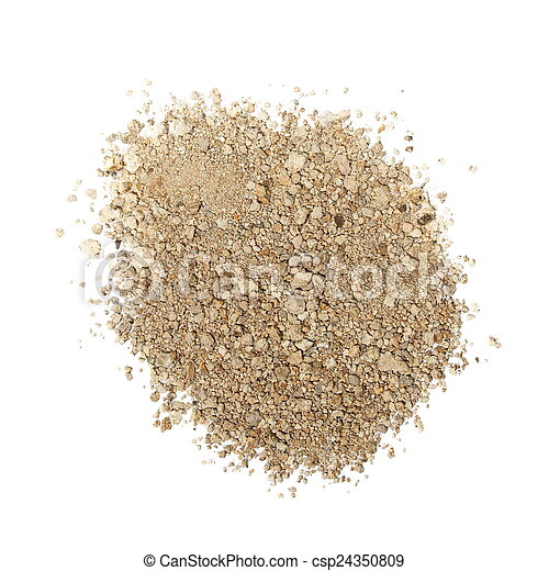 pile dry dirt isolated on white  - csp24350809
