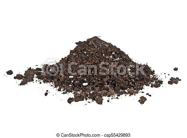 Pile heap of soil humus on a white background - csp55429893