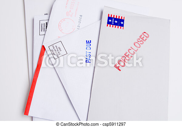 Pile Mail Stamped FORECLOSED PAST DUE Isolated - csp5911297