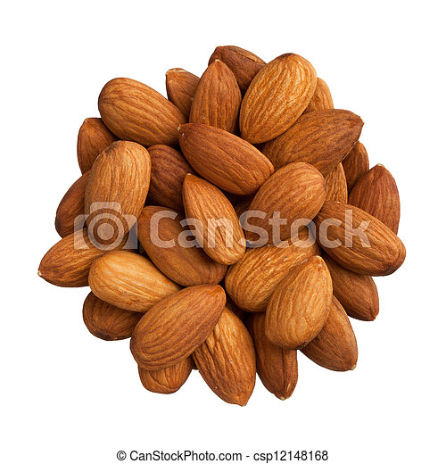 Pile of almonds isolated on white background - csp12148168