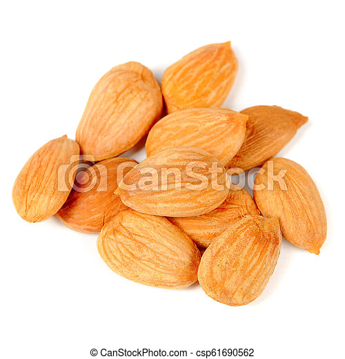 Pile of Almonds Isolated on White Background - csp61690562